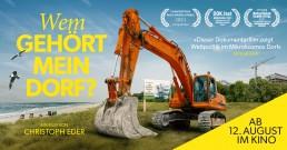 Bagger vor dem Meer, Link der Titel des Films in gelber Schrift